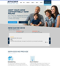 HVAC website - Spicer Mechanical in Brea, CA - (714) 279-9100 - is an example of a PagePilot HVAC website design